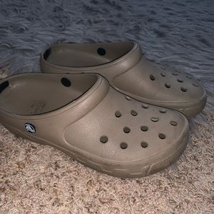 Beige slip on crocs